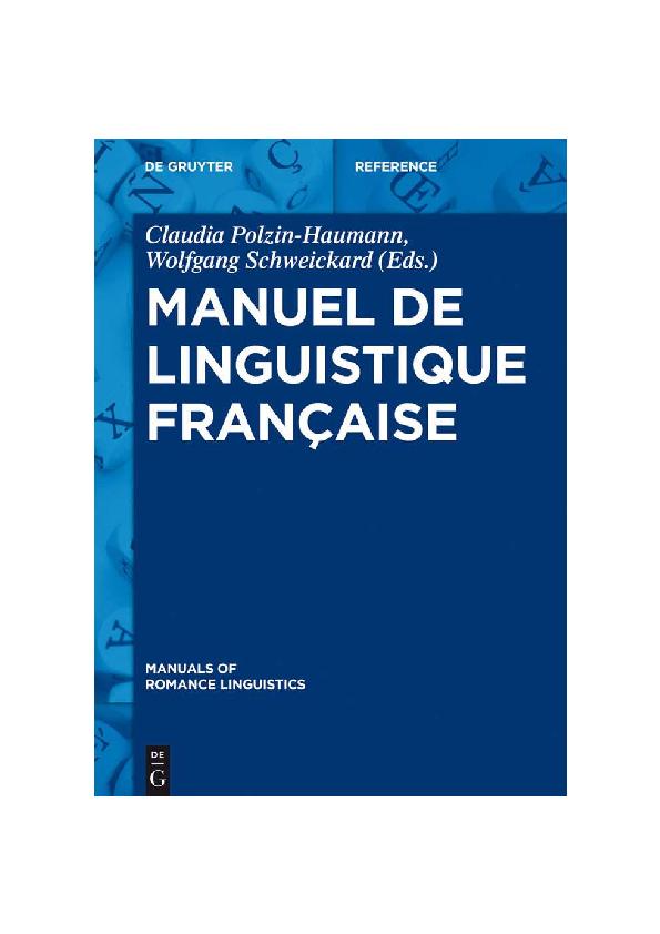 Pdf Manuel De Linguistique Francaise Pdf David Neurone