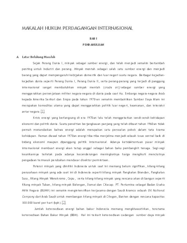 Doc Makalah Hukum Perdagangan Internasional Cindy Leenardy Academia Edu