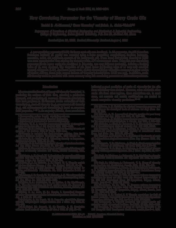 PDF) Houache-8 New Correlating Parameter for the Viscosity