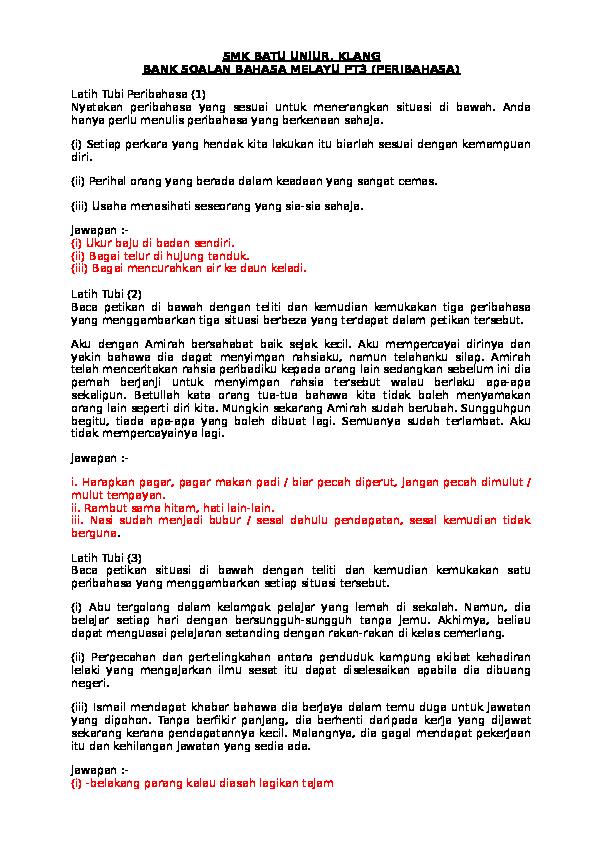 Doc Smk Batu Unjur Klang Bank Soalan Bahasa Melayu Pt3 Peribahasa Raji65 Kumar Academia Edu