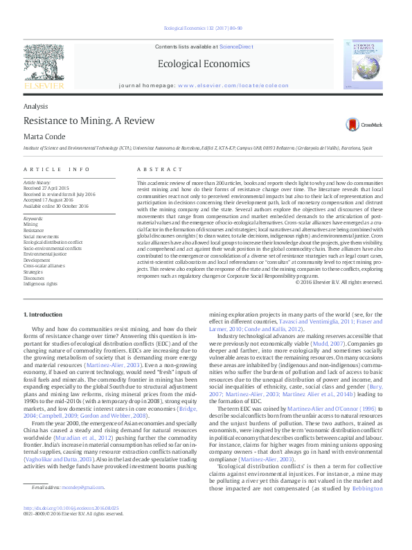 Resistance to Mining  A Review | Marta Conde - Academia edu