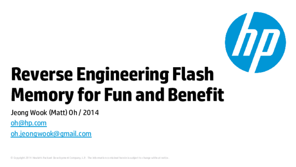 PDF) Reverse Engineering Flash Memory for Fun and Benefit