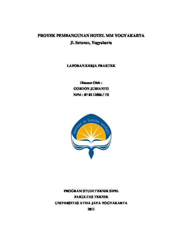 Pdf Laporan Kerja Praktik Teknik Sipil Gordon Jurianto Academia Edu