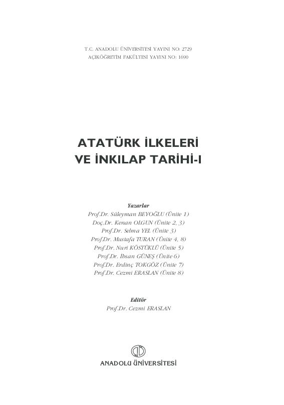 Pdf Ataturk Ilkeleri Ve Inkilap Tarihi Gokhan Ozcomlekci