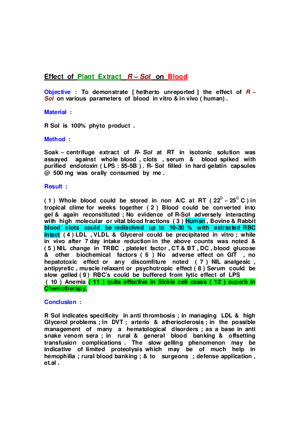PDF) Effect of Plant Extract R – Sol on Blood   Deepak