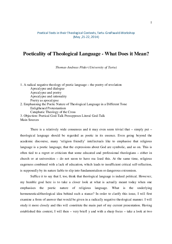 PDF) Poeticality of Theological Language - What Does it Mean