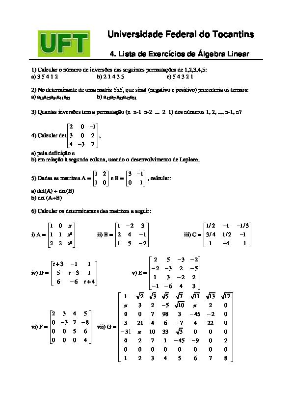 matriz determinante exercicios