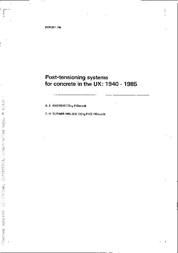 PDF) Post-tensioning systems for concrete in the UK: 1940