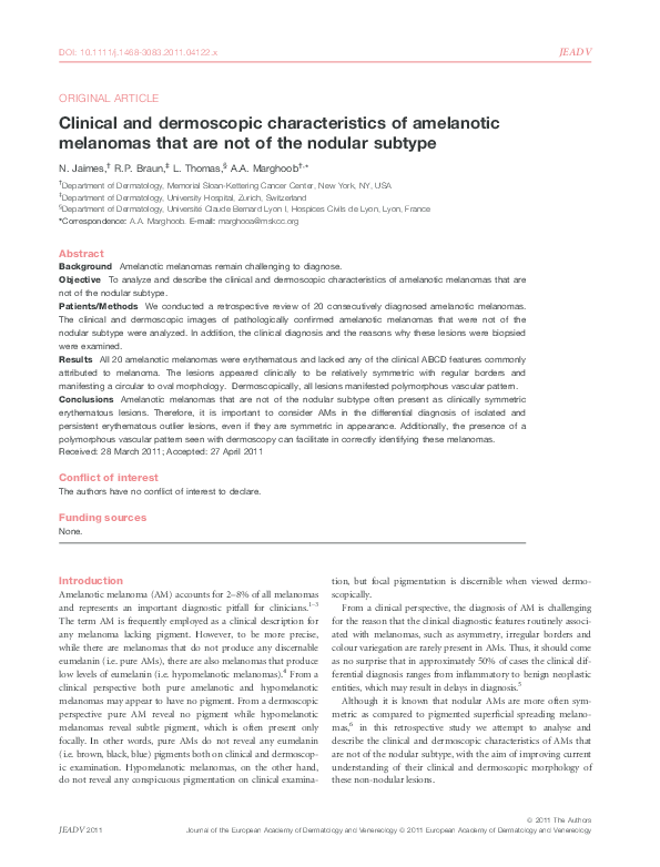 PDF) Clinical and dermoscopic characteristics of amelanotic