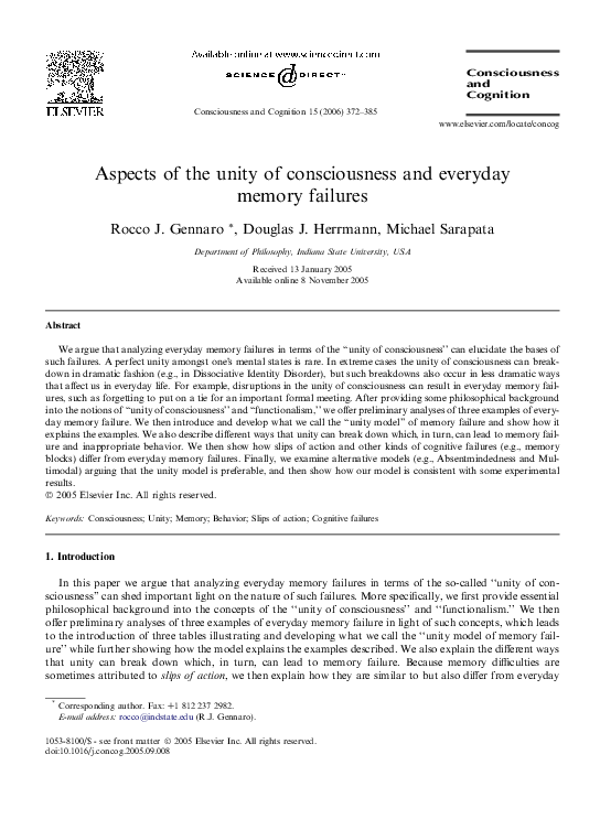 PDF) Aspects of the unity of consciousness and everyday
