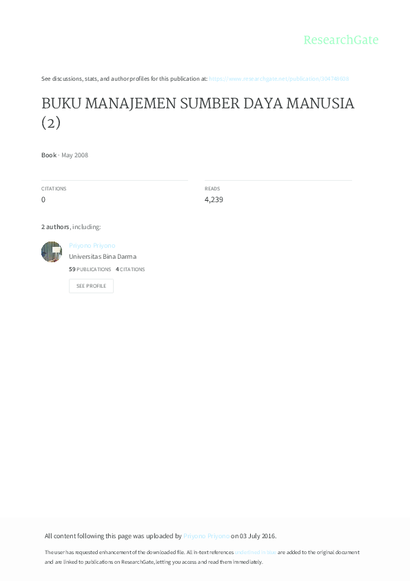 Hasibuan daya buku pdf manajemen manusia sumber