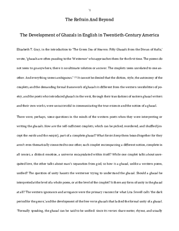 PDF) The Refrain And Beyond — The Development of Ghazals in