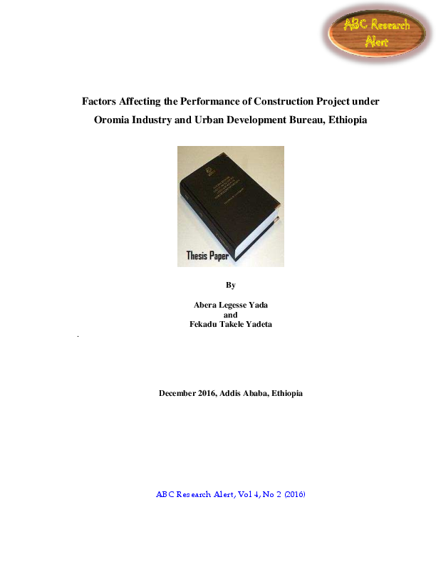 PDF) Factors Affecting the Performance of Construction Project under
