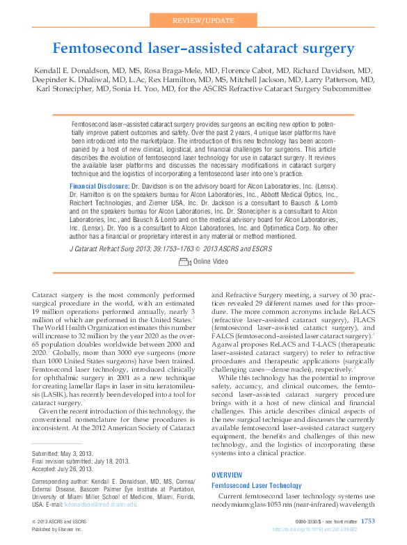 PDF) Femtosecond laser–assisted cataract surgery   uli syam