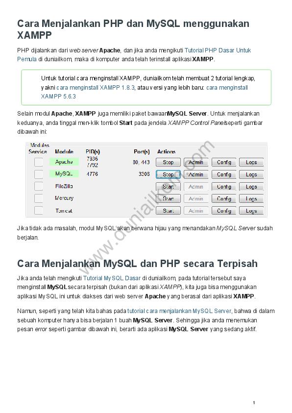 PDF) Cara Menjalankan PHP dan MySQL menggunakan XAMPP