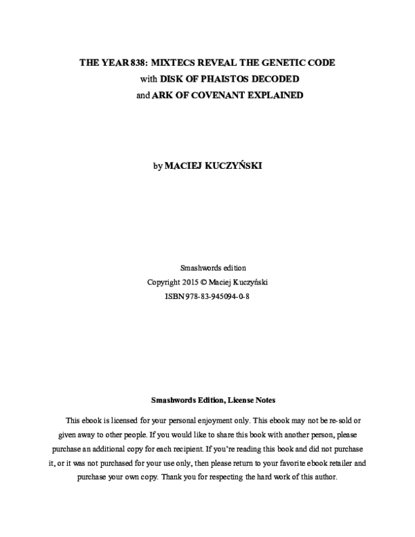 PDF) The Year 838: Mixtecs Reveal the Genetic Code | Maciej