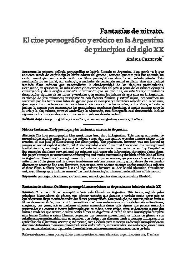 Peliculas porno de principios del siglo xx Pdf Fantasias De Nitrato El Cine Pornografico Y Erotico En La Argentina De Principios Del Siglo Xx Andrea Cuarterolo Academia Edu