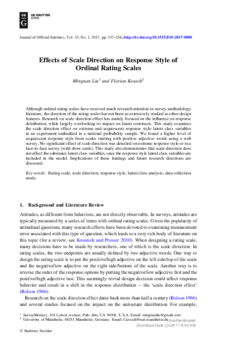 PDF) Effects of Scale Direction on Response Style of Ordinal