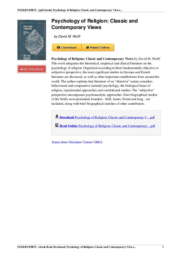 PDF) SYEKBNZ9R72 -[pdf ebook] Psychology of Religion