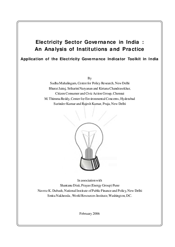 PDF) Electricity Sector Governance in India : An Analysis of