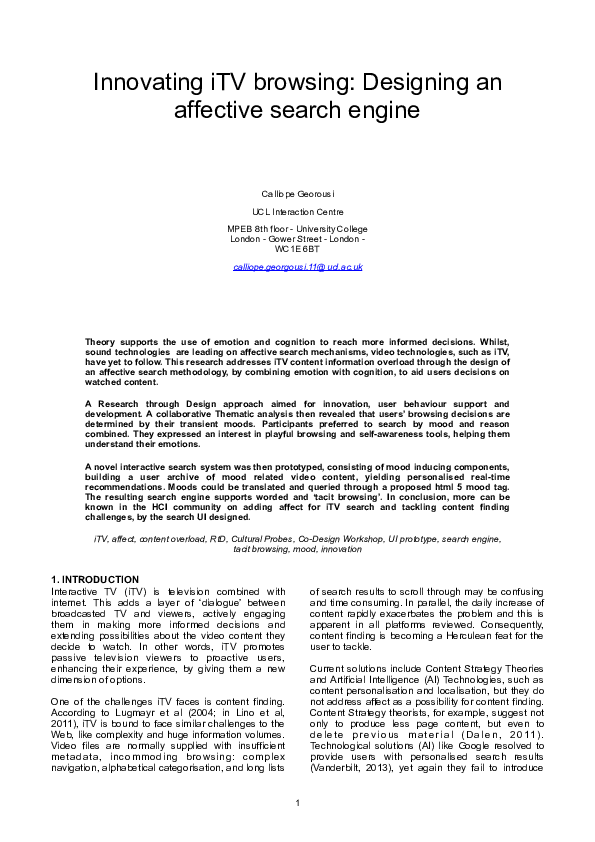 PDF) Innovating iTV browsing: Designing an affective search