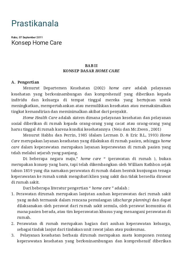 Pdf Prastikanala Konsep Home Care Ramdan Hafid Academia Edu