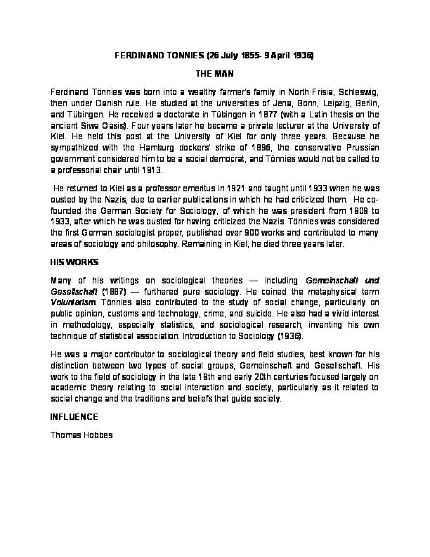 gemeinschaft and gesellschaft examples