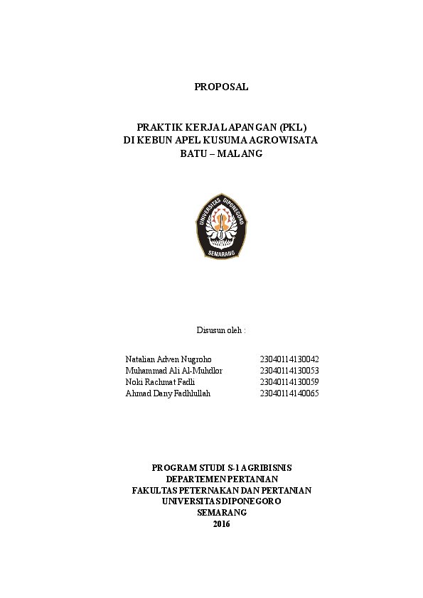 Contoh Proposal Magang Kerja Fakultas Pertanian Berbagi Contoh Proposal