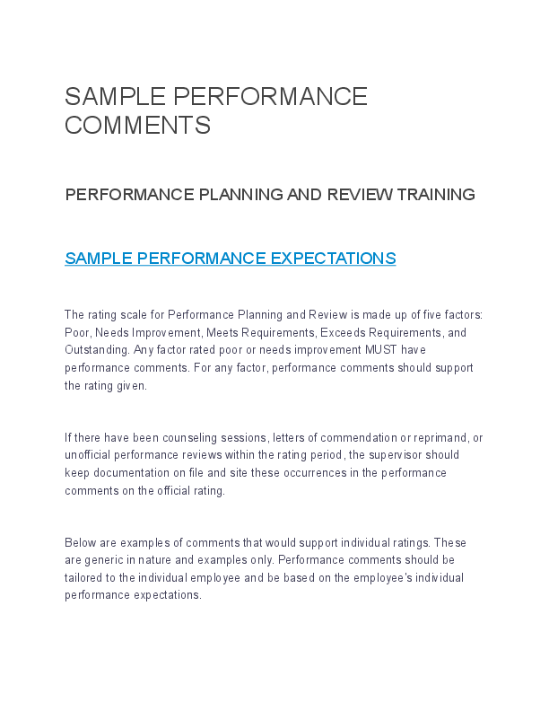 doc  sample performance comments performance planning and