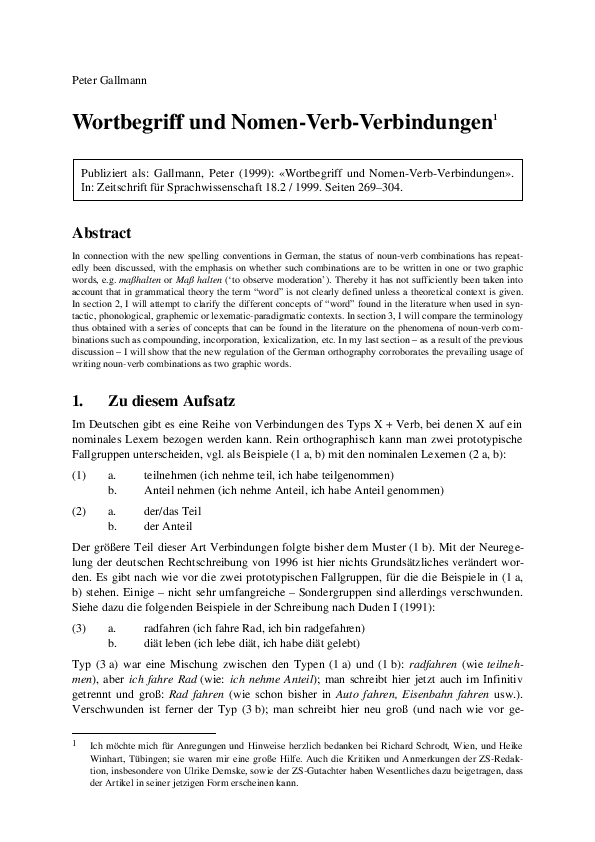 Pdf Wortbegriff Und Nomen Verb Verbindungen 1 Rocío