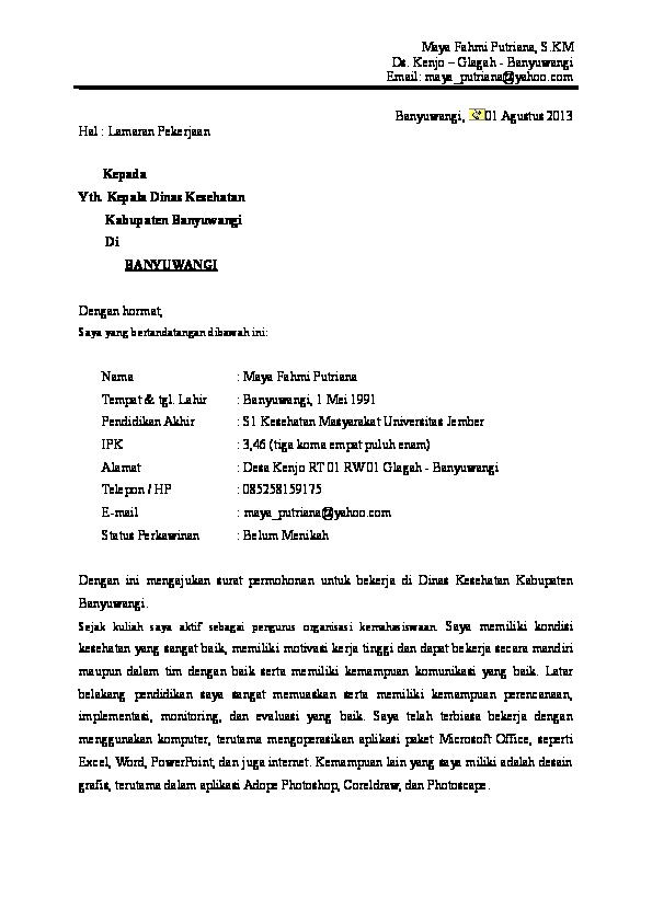 Doc Surat Lamaran Dinkes Bwi Ainur Roifah Academiaedu