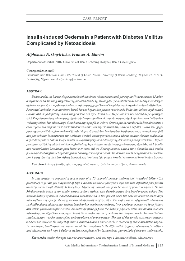 Pdf Insulin Induced Oedema In A Patient With Diabetes Mellitus Complicated By Ketoacidosis Alphonsus Onyiriuka Academia Edu