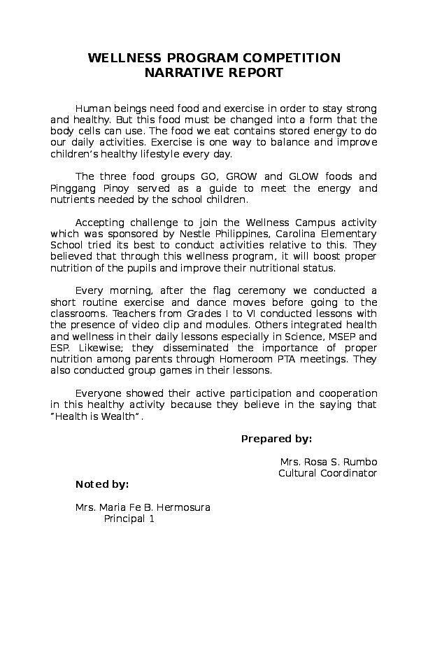 DOC) WELLNESS PROGRAM COMPETITION NARRATIVE REPORT CAMPUS