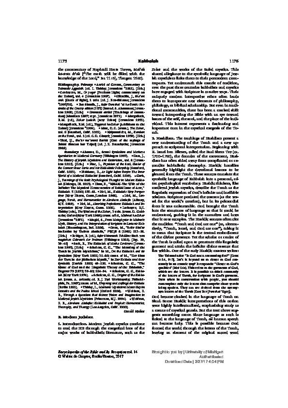 PDF) Kabbalah in Modern Judaism [Encyclopedia of the Bible