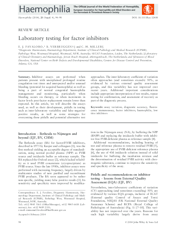 PDF) Laboratory testing for factor inhibitors | Emmanuel