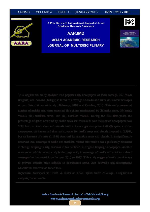 PDF) QUANTITATIVE COVERAGE OF HEALTH AND NUTRITION NEWS - A