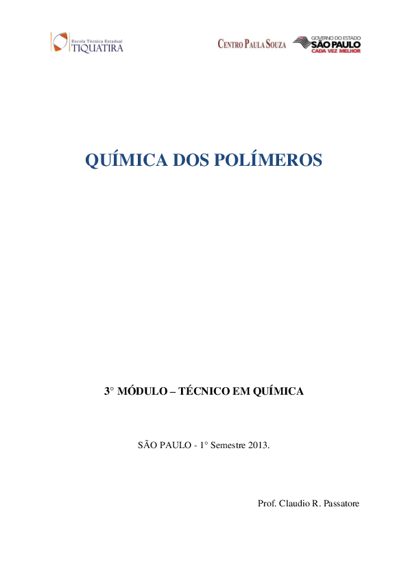 Pdf Química Dos Polímeros 3 Módulo Técnico Em Química