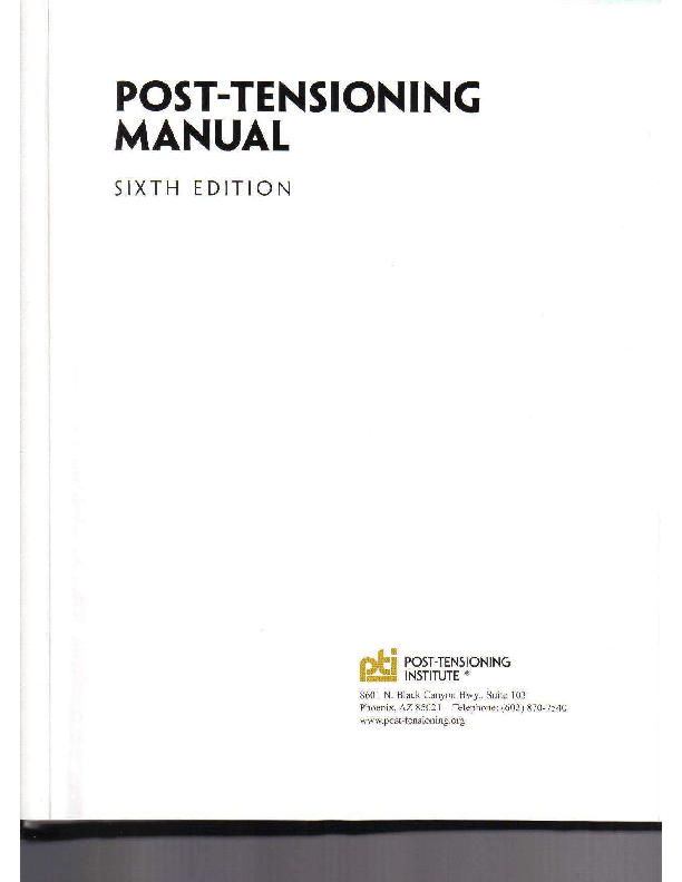 Pdf Pti Tab 1 06 Post Tensioning Manual 6th Edition Pdf Yatniel