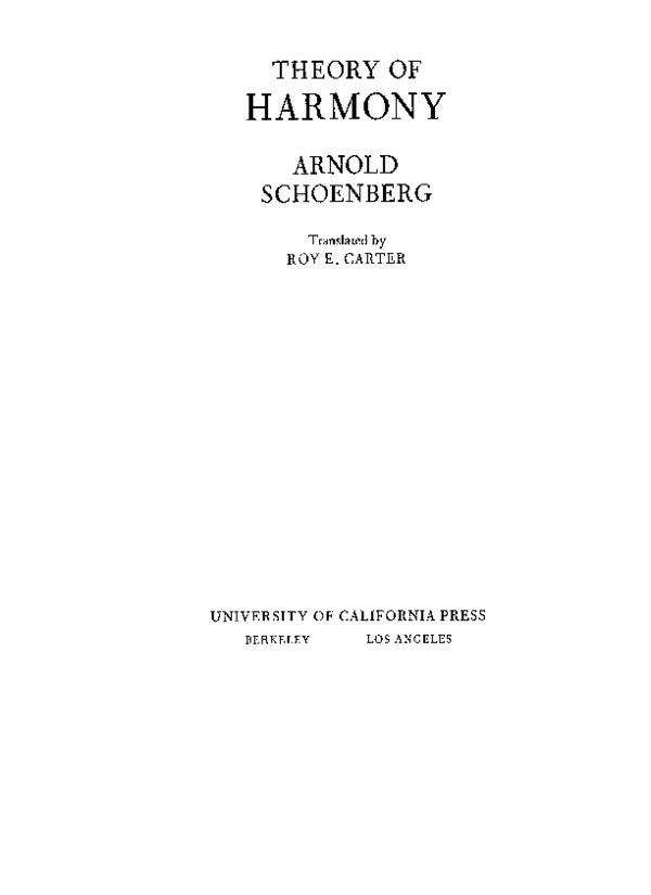 PDF) THEORY OF HARMONY ARNOLD SCHOENBERG Translated by
