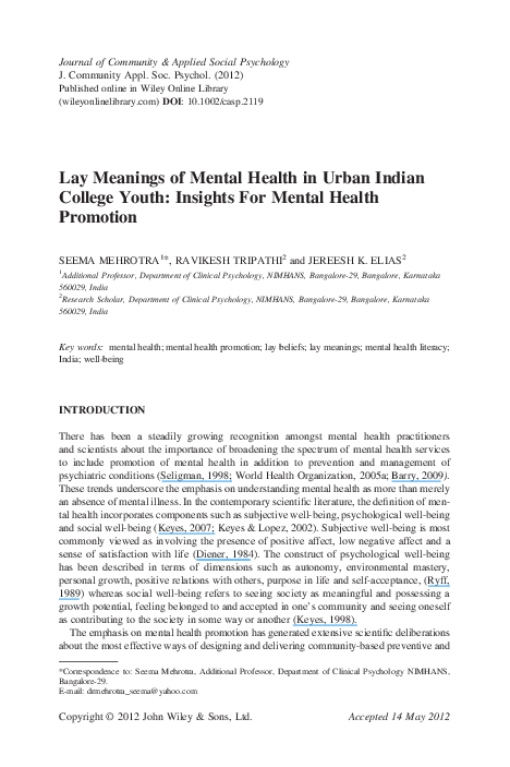 PDF) Lay Meanings of Mental Health in Urban Indian College