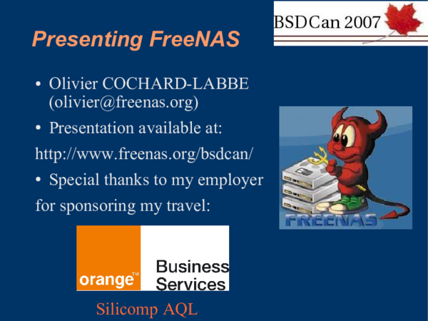 PDF) Presenting FreeNAS (BSDCan 2007)   Olivier Cochard-Labbé