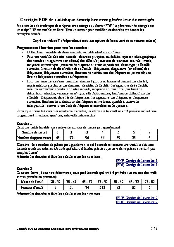 Pdf Corriges Pdf De Statistique Descriptive Avec Generateur De Corriges Fazia Harrache Academia Edu