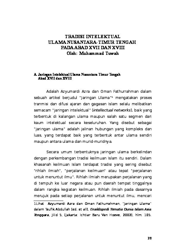 Doc Tradisi Intelektual Ulama Xvii Dan Xviii Docx Muhammad Tuwah Academia Edu