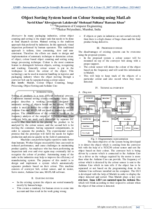 PDF) Object Sorting System based on Colour Sensing using