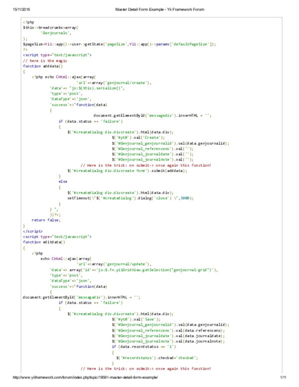 PDF) Master Detail Form Example Yii Framework Forum 2