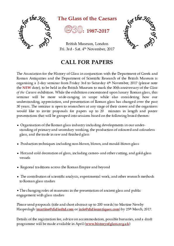 PDF) The Glass of the Caesars CALL FOR PAPERS | Martine Newby