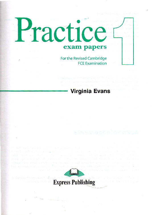 Fce Practice Exam Papers 1 Students Book