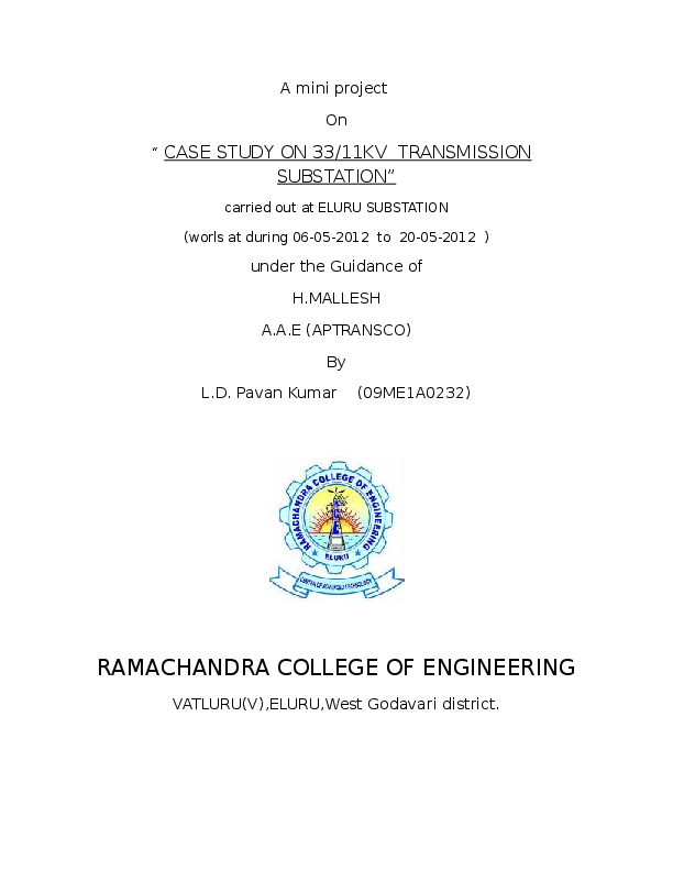 DOC) Case study on 33/11KV transmission substation | Deepak