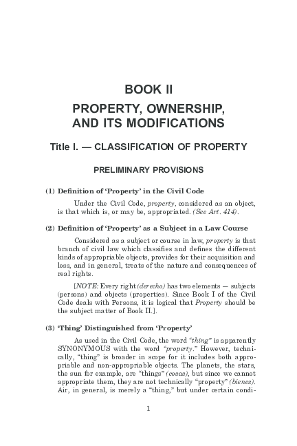 PDF) CIVIL CODE OF THE PHILIPPINES BOOK II PROPERTY, OWNERSHIP, AND