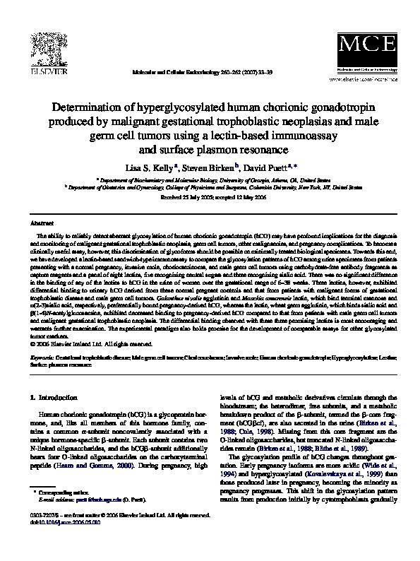 PDF) Determination of hyperglycosylated human chorionic gonadotropin